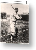 Home Run Greeting Cards - Babe Ruth Greeting Card by Bill Cannon