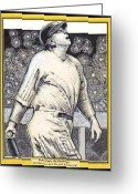 Babe Mixed Media Greeting Cards - Babe Ruth hits one out of the park  Greeting Card by Ray Tapajna