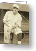 American League Greeting Cards - Babe Ruth Posing Greeting Card by Padre Art