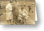 Portraits Photo Greeting Cards - Babe Ruth Studies the Roster Greeting Card by Padre Art