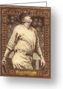 Babe Mixed Media Greeting Cards - Babe Ruth The Bambino  Greeting Card by Ray Tapajna