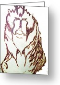Roberto Edmanson-harrison Greeting Cards - Baboon Study Greeting Card by Roberto Edmanson-Harrison
