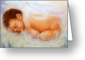 Girls Greeting Cards - Baby Angel Feathers Greeting Card by Joni M McPherson