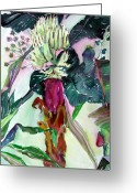 Banana Tree Greeting Cards - Baby Bananas Greeting Card by Mindy Newman