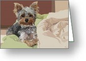 Dog Portrait Digital Art Greeting Cards - Baby Bedhead Greeting Card by Kris Hackleman