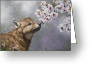 Dogs Painting Greeting Cards - Baby Blossoms Greeting Card by Crista Forest