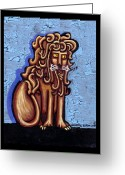 Big Cat Art Prints Greeting Cards - Baby Blue Byzantine Lion Greeting Card by Genevieve Esson