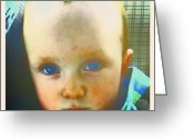 Droid Greeting Cards - Baby Blue Eyes #baby #blue #android Greeting Card by Marianne Dow