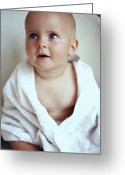 Bath Time Greeting Cards - Baby Boy Wrapped In A Towel Greeting Card by Ian Boddy
