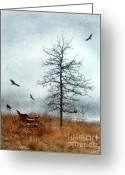 Winter Sleep Greeting Cards - Baby Buggy by Tree with Nest and Birds Greeting Card by Jill Battaglia