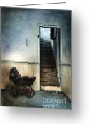 Pram Greeting Cards - Baby Buggy in Abandoned House Greeting Card by Jill Battaglia