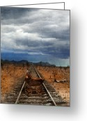 Pram Greeting Cards - Baby Buggy on Railroad Tracks Greeting Card by Jill Battaglia