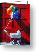 Buggy Greeting Cards - Baby buggy with balloons  Greeting Card by Garry Gay