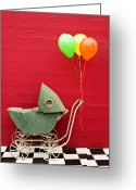 Balloons Greeting Cards - Baby buggy with red wall Greeting Card by Garry Gay