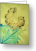 Feeding Mixed Media Greeting Cards - Baby Caterpillar Greeting Card by Paulo Zerbato