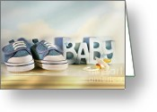 Footwear Greeting Cards - Baby denim shoes Greeting Card by Sandra Cunningham