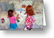 Nursury Greeting Cards - Baby Dolls Greeting Card by RL Rucker