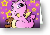 Baby Room Drawings Greeting Cards - Baby Dragon Sucking Thumb Pink Greeting Card by Lisa Anne Riley