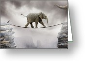 Walking Tightrope Greeting Cards - Baby Elephant Greeting Card by by Sigi Kolbe