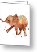 Elephant Watercolor Greeting Cards - Baby Elephant Print - cute baby elephant Greeting Card by Alison Fennell