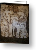 Elephant Pyrography Greeting Cards - Baby Elephant Pyrographics on Paper Original by Pigatopia Greeting Card by Shannon Ivins