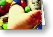 Droid Greeting Cards - Baby Foot #baby #foot #android #art Greeting Card by Marianne Dow
