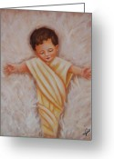Christ Child Greeting Cards - Baby Jesus Greeting Card by Joni McPherson