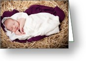 Idaho Artist Greeting Cards - Baby Jesus Nativity Greeting Card by Cindy Singleton