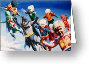 Batman Greeting Cards - Baby Justice League Greeting Card by Ken Meyer jr