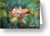 Newborn Greeting Cards - Baby Lotus Dreams Greeting Card by MiMi  Photography