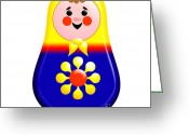 Ethnic Digital Art Greeting Cards - Baby Matrioshka Doll  Greeting Card by Zaira Dzhaubaeva