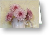 Silver Pitcher Greeting Cards - Baby Mums Against Wallpaper Greeting Card by Marsha Heiken