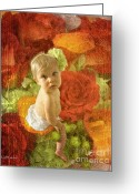 Newborn Greeting Cards - Baby Orange Roses  Greeting Card by MiMi  Photography