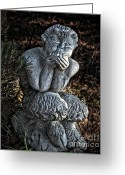 Greek Sculpture Digital Art Greeting Cards - Baby Pan Statue Greeting Card by Danuta Bennett