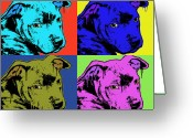 Pit Bull Greeting Cards - Baby Pit Face Greeting Card by Dean Russo