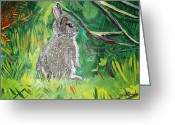 Camouflaged Painting Greeting Cards - Baby Rabbit Greeting Card by Renate Pampel