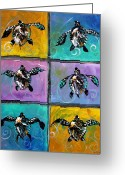 Original Art Greeting Cards - Baby Sea Turtles Six Greeting Card by J Vincent Scarpace