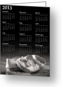 Calendar Greeting Cards - Baby shoes calendar 2013 Greeting Card by Jane Rix