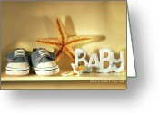 Infant Photo Greeting Cards - Baby shoes on the shelf Greeting Card by Sandra Cunningham
