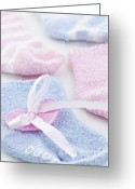 Pink Ribbon Greeting Cards - Baby socks  Greeting Card by Elena Elisseeva