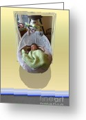 Out Of Frame Greeting Cards - Baby Swing Greeting Card by Ron Bissett