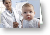Precaution Greeting Cards - Baby Vaccination Greeting Card by Adam Gault