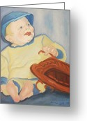Baseball Paint Greeting Cards - Baby with Baseball Glove Greeting Card by Suzanne  Marie Leclair