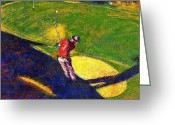 Playing Golf Greeting Cards - Babyboomer Golfing Greeting Card by Ion vincent DAnu