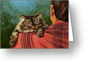 Feline Painting Greeting Cards - Babyface Greeting Card by Pat Burns