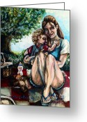 Overalls Greeting Cards - Babys First Picnic Greeting Card by Shana Rowe