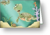 Fantasy Art Digital Art Greeting Cards - Babys Morning Swim Greeting Card by Hank Nunes