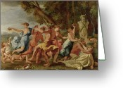 Fawns Greeting Cards - Bacchanal before a Herm Greeting Card by Nicolas Poussin