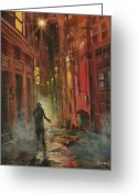 Film Noir Greeting Cards - Back Alley Justice Greeting Card by Tom Shropshire