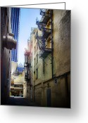 Making Out Greeting Cards - Back Alley Work Greeting Card by James Heckt